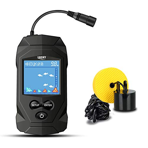 LUCKY Portable Fish Finders Wired Transducer...