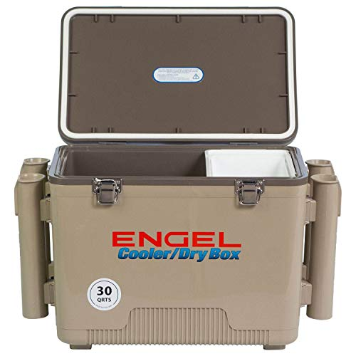 ENGEL Cooler/Dry Box with 4 Rod Holders - 30 Qt -...