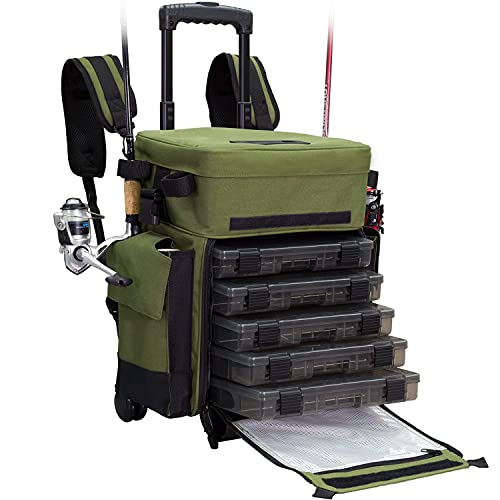 Elkton Outdoors Rolling Fishing Tackle Box...
