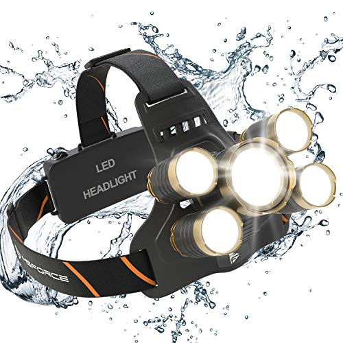 MsForce Rechargeable Headlamp. 5 Ultra Bright LED...