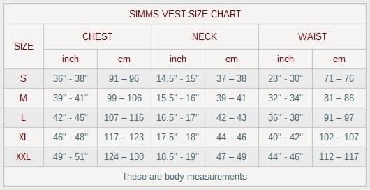 SIMMS VEST SIZE CHART