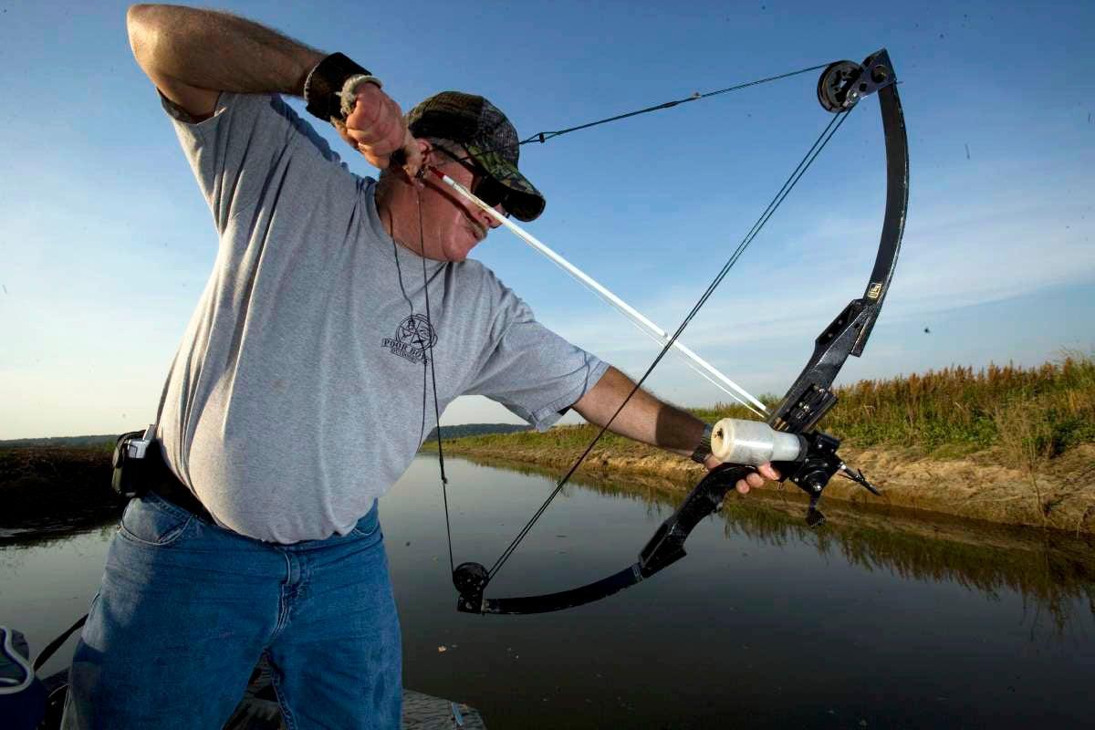 Man Bowfishing