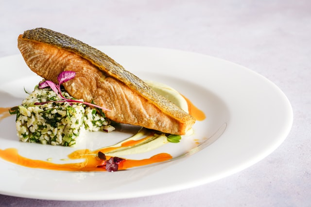 Salmon Serving On Plate